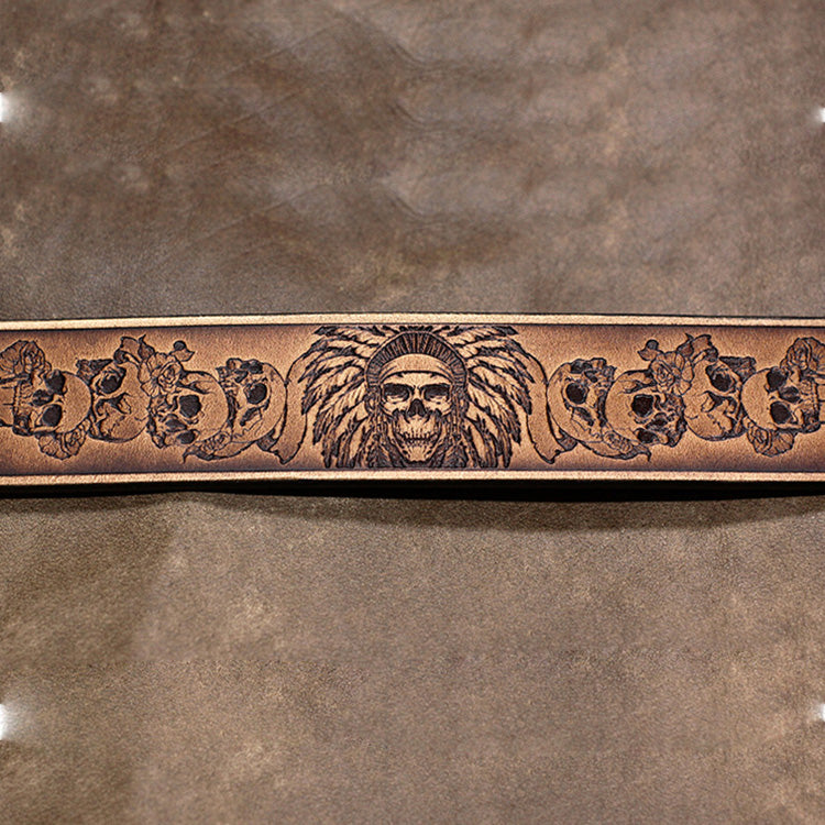 Handmade Leather Bracelet Tooled Skull Personalized Monogrammed Gift Custom Cool Bracelet for Men
