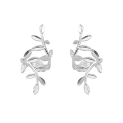 Silver No Hole Earrings Cartilage Laurel Leaves Branches Cuff Climbers Crawler Sweeps Gift Jewelry Accessories Women