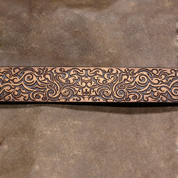 Handmade Leather Bracelet Tooled Floral Personalized Monogrammed Gift Custom Cool Bracelet for Men