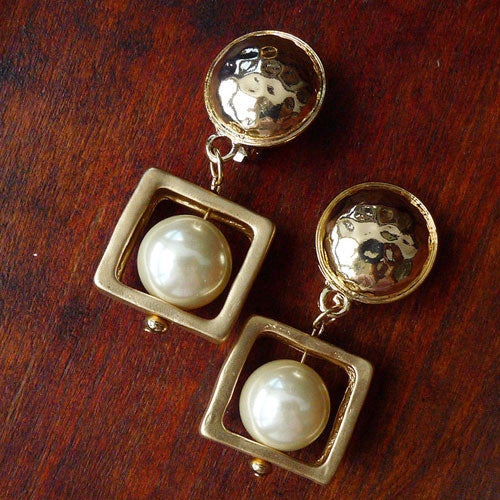 Vintage Earrings Pearl Square Ear Clip Dangle Gift Jewelry Accessories Women