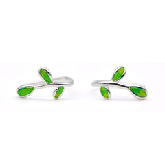 Silver Earrings Olive Laurel Branch Leaves Cuffs Gift Jewelry Accessories Women