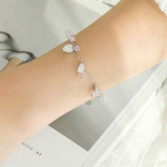 Silver Bracelet Blueberry Leaf Charm Bracelet Chain Bracelets Gift Jewelry Accessories Girls Women