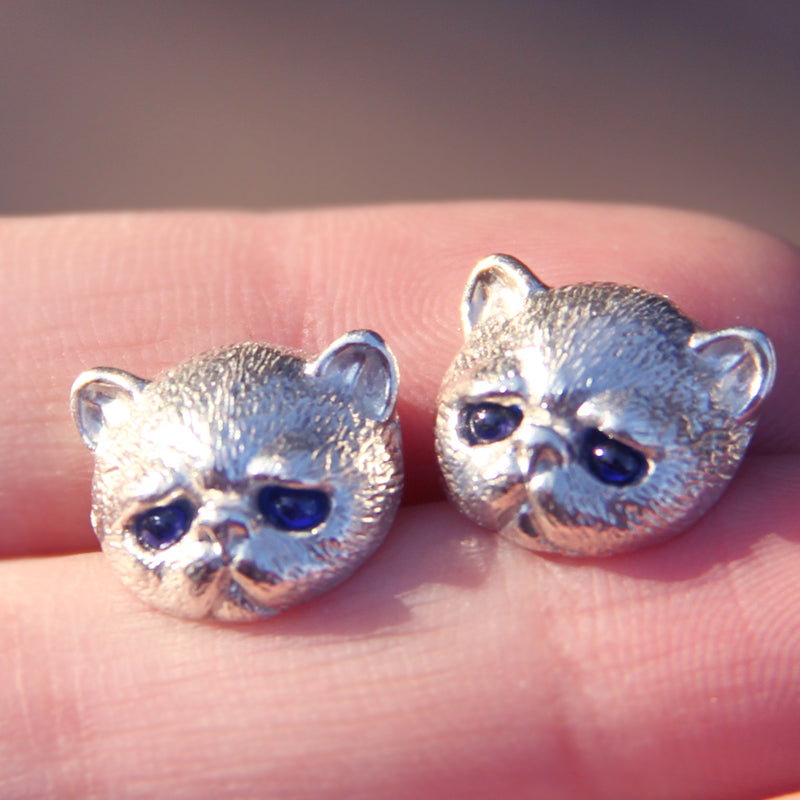 Handmade Silver Earring Cat Kitty Pet Unique Cute Stud Earring Christmas Gift Jewelry Accessories Women
