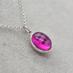 Necklace Silver Crystal Amethyst Charm Oval Round Pendant Choker Necklace Christmas Gift Jewelry Accessories Women