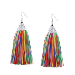Earrings Tassel Colorful Big Long Drop Dangle Party Christmas Gift Jewelry Accessories Women
