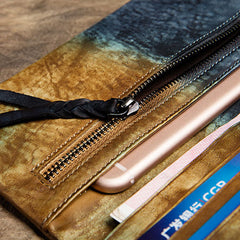 Genuine Leather Handmade Long Wallet Clutch