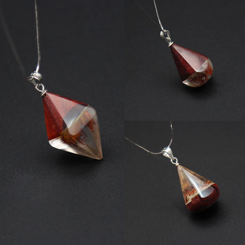 Wooden Necklaces Sandalwood Resin Geometric Rhombus Triangle Water Drop Charm Pendant Gift Jewelry Accessories Women