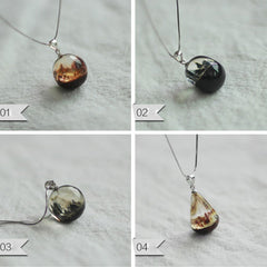 Wooden Necklaces Sandalwood Resin Round Ball Water Drop Charm Pendant Gift Jewelry Accessories Women