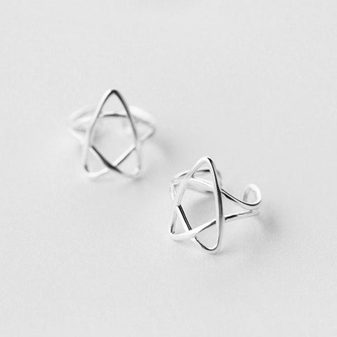 Silver No Hole Earrings Cartilage Star Cuff Climbers Crawler Wrap Gift Jewelry Accessories Women
