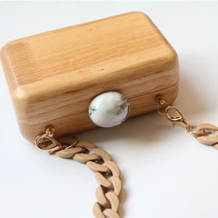Wooden Handbag Folded Women Party Chain Cube Box Wallet Clutch Phone Wallet