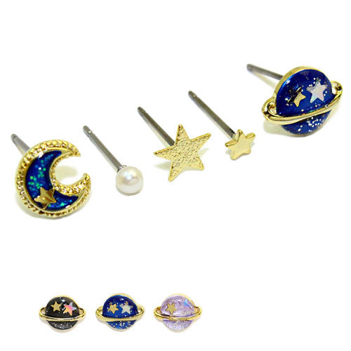 Star Earrings Saturn Planet Stud Earring Cute Christmas Gift Jewelry Accessories Women