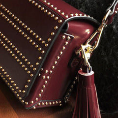 Genuine leather vintage rivet women handbag shoulder bag crossbody bag