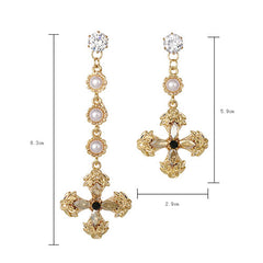 Asymmetry Earrings Pearl Rhinestone Crucifix Cross Long Drop Dangle Party Christmas Gift Jewelry Accessories Women