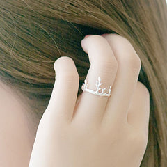 Silver Ring Branch Leaf Crown Statement Ring Adjustable Ring Wrap Gift Jewelry Accessories Women