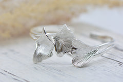 Silver Bracelets Bangle Gingko Laurel Olive Leaves Branch Charm Cuff Gift Jewelry Accessories Women