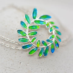 Sliver Necklace Branches Laurel Olive Leaves Garland Pendant Gift Jewelry Accessories Women