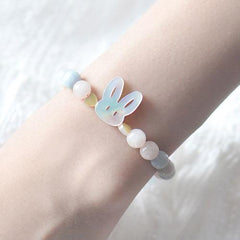 Silver Bracelet Rabbit Beade Bracelets Cute Gift Jewelry Accessories Girls Women