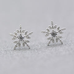 Silver Earrings Stud Reindeer Snowflake Pearl Christmas Gift Jewelry Accessories Women