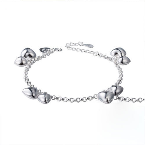 Silver Bracelets Layered Heart 3D Chain Gift Jewelry Accessories Women
