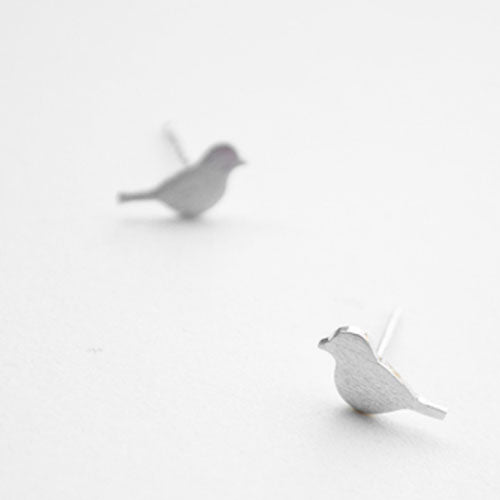 Silver Earrings Tiny Stud Sparrow Bird Pigeon Romantic Gift Jewelry Accessories Women