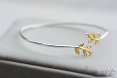 Silver Gold Plated Bracelets Cuff Bangle Laurel Olive Leaves Branch Gift Jewelry Accessories Women