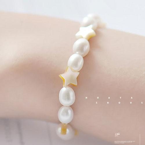 Beaded Bracelet Pearl Shell Star Charm Bracelets Gift Jewelry Accessories Women