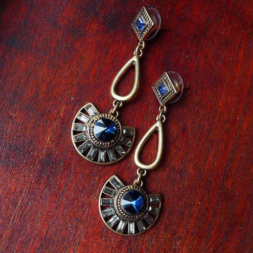 Vintage Earrings Rhinestone Semicircle Long Drop Dangle Gift Jewelry Accessories Women