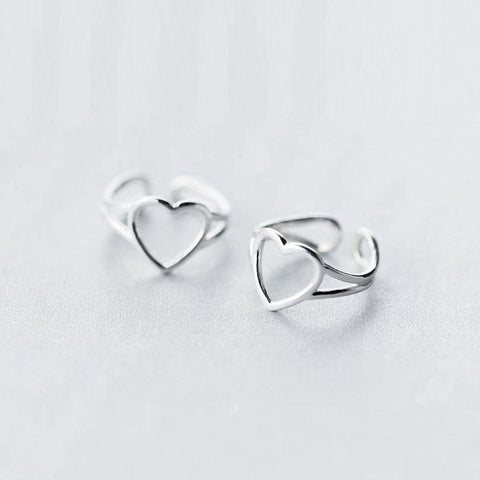 Silver No Hole Earrings Cartilage Heart Cuff Climbers Crawler Wrap Gift Jewelry Accessories Women