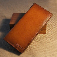 Handmade leather vintage women long wallet clutch phone purse wallet