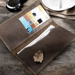 Handmade leather vintage PERSONALIZED MONOGRAMMED GIFT CUSTOM long wallet clutch phone purse wallet