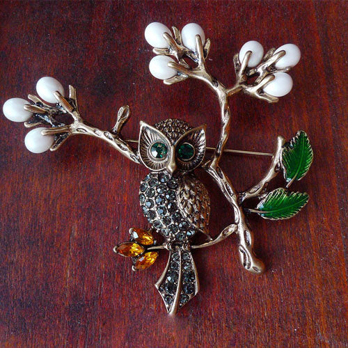 Vintage Brooch Branch Owl Rhinestone Cute Pin Gift Jewelry Accessories Women