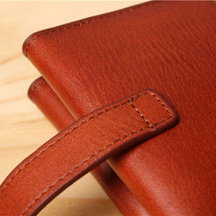 Handmade leather folded vintage women men long wallet clutch phone purse wallet