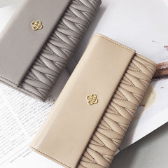 Genuine Handmade leather folded vintage women men wallet clutch phone purse wallet