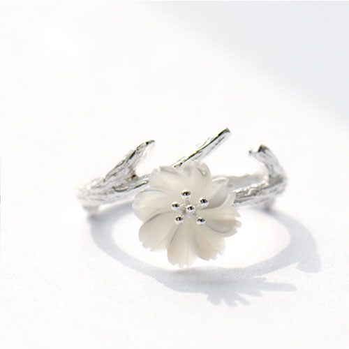 Silver Ring Branch Floral Sakura Statement Ring Adjustable Ring Wrap Gift Jewelry Accessories Women