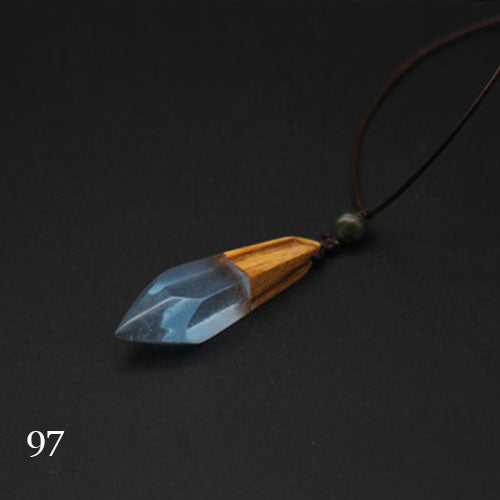 Wooden Necklace Sandalwood Resin Handmade Minimal Stick Charm Pendant Gift Jewelry Accessories Women