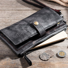 Handmade leather vintage men PERSONALIZED MONOGRAMMED GIFT CUSTOM COOL men long wallet clutch phone purse wallet