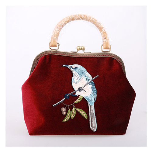Women Clutch Vintage Wooden Velvet Embroidery Bird Kisslock Party Evening Metal Frame Handbag Women Wallet