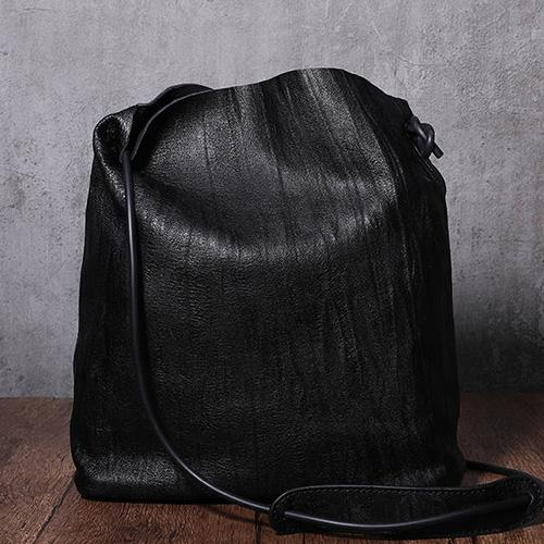 Black Leather Bucket Bag Bucket Shoulder Bag
