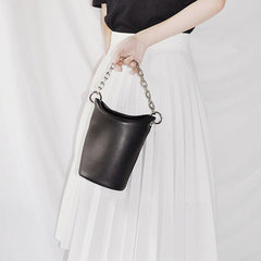 Black Leather Women Chain Bucket Bag Handbag Shoulder Bag For Women