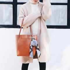Brown Black Leather Womens Stylish Tote Bag Shoulder Bag For Women
