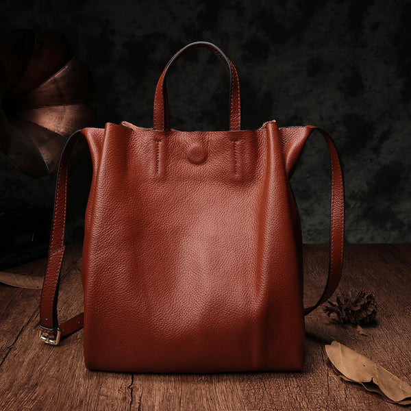 "12"" Brown Leather Tote Bag Soft Leather Tote Bag Purse"