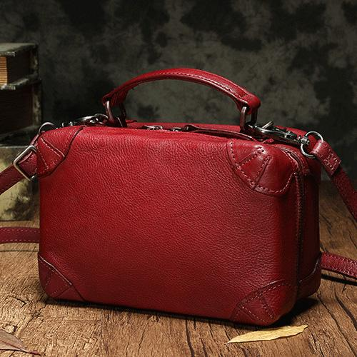 Red Genuine Leather Box Bags Shoulder Purses