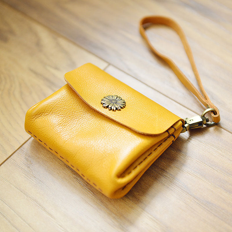 CUTE Accordion Yellow Women Card Change Holder HANDMADE LEATHER Pouch PERSONALIZED MONOGRAMMED GIFT CUSTOM Small Wallet