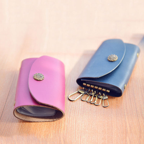 CUTE Women Card Keys Holder Pouch HANDMADE LEATHER PERSONALIZED MONOGRAMMED GIFT CUSTOM Key Wallet Holder