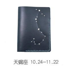 CUTE Women Constellation Passport Wallet LEATHER Blue PERSONALIZED MONOGRAMMED GIFT CUSTOM Wallet