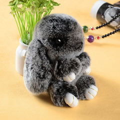 Cute fluffy bunnies rabbits Light MIX Black small charm keychain phone charm bag charm