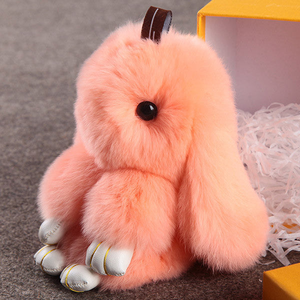 Cute fluffy bunnies rabbits Light Pink small charm keychain phone charm bag charm