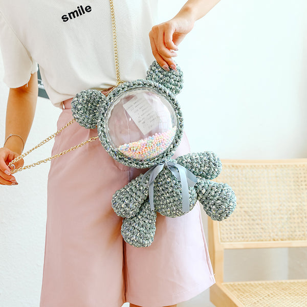 Cute Dark Green & White Crochet Bear Backpack Bear Crochet Shoulder Bag for Girl Teddy Bear Crochet Crossbody Purse