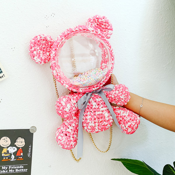 Cute Red Pink&White Crochet Bear Backpack Bear Crochet Shoulder Bag for Girl Teddy Bear Crochet Crossbody Purse