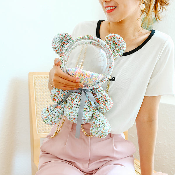 Cute Light Blue&Red&Green Crochet Bear Backpack Bear Crochet Shoulder Bag for Girl Teddy Bear Crochet Crossbody Purse
